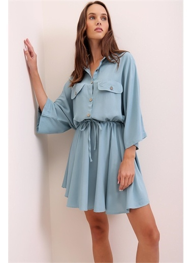 Pink Park Beli Büzgülü Dokuma Elbise ALC0004 Mavi